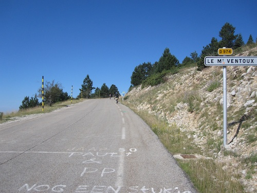 View up the road
